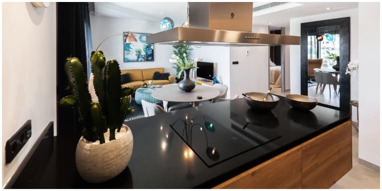 Black quartz kitchen worktop