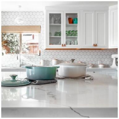White marble kitchen surface