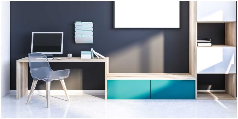 Home office wood effect surface