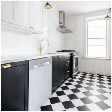 Black white chequered luxury vinyl tiles
