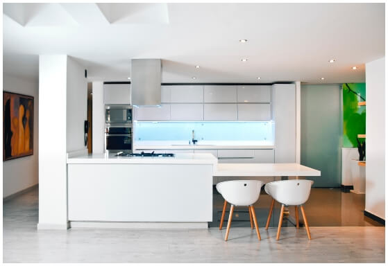Cement effect porcelain kitchen flooring